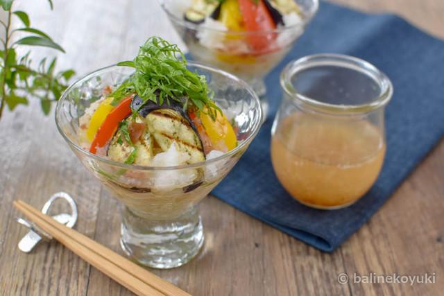 20170321-焼き野菜の梅しそおろしつゆのぶっかけそうめん(横)