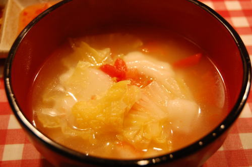 お餅入り中華スープ
