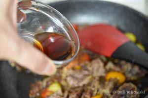 牛肉とミニトマトのごち醤油炒め工程6