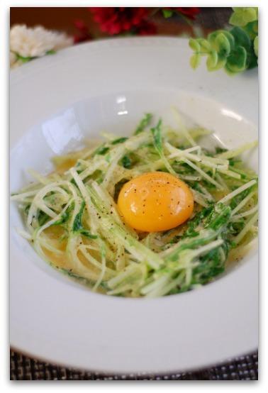 楽しいキッチン-水菜のカルボナーラ風