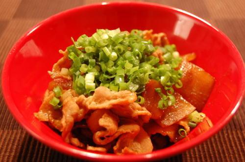 大根と豚肉の甜麺醤炒め