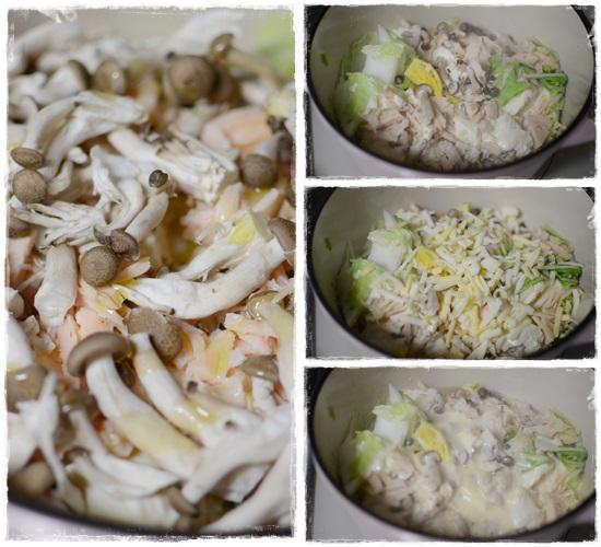 豆腐と白菜のチーズ蒸しの工程