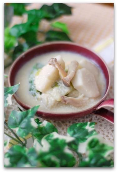 楽しいキッチン-豆乳味噌スープ