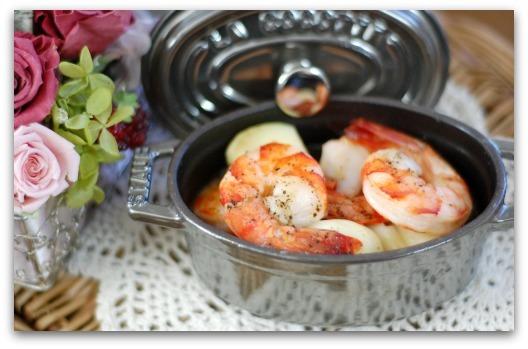楽しいキッチン-エビのガーリックオイル煮