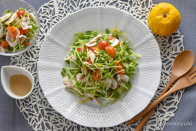 20180224-柚子香る豆苗とキノコとささみのサラダ(横画像)