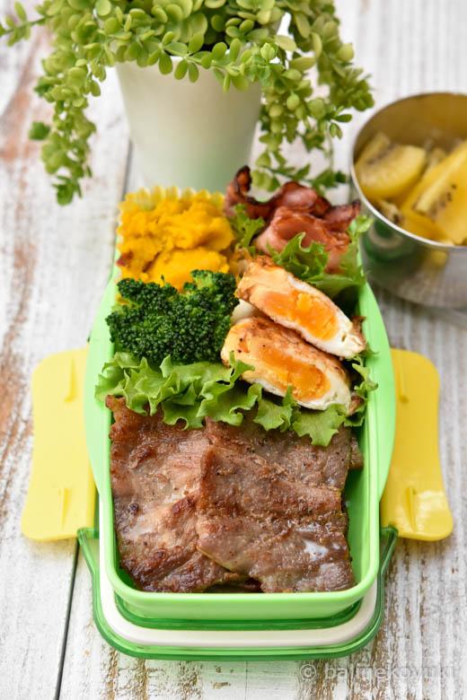中学生男子弁当|豚バラ肉のスパイスソテー|のっけ弁当の詰め方