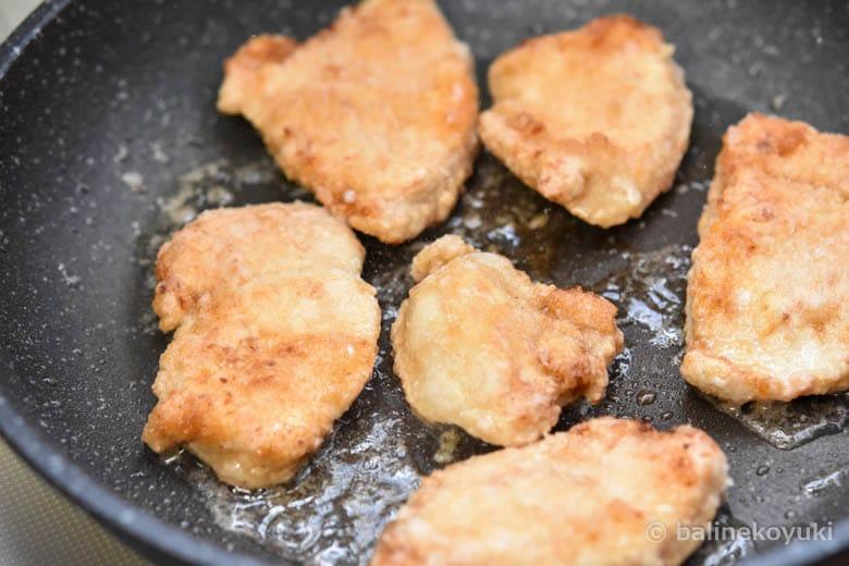 鶏むね肉のゴマ照り焼き丼工程