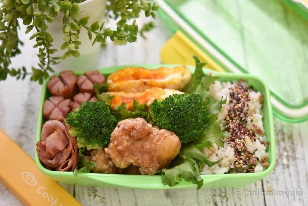 中学生男子弁当|竜田揚げ弁当|食物繊維の王様!スーパー大麦バーリーマックス
