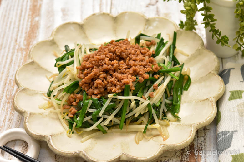 野菜炒めの大豆のそぼろかけ