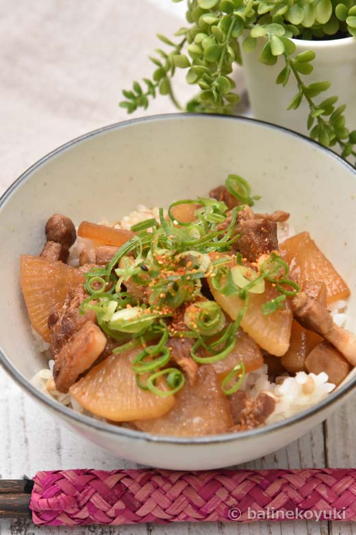 カリカリ豚バラと大根の角煮風丼