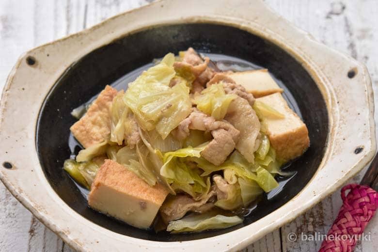 厚揚げと豚肉とキャベツのうま煮