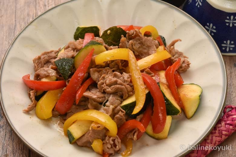 豚肉と夏野菜の生姜ポン酢炒め