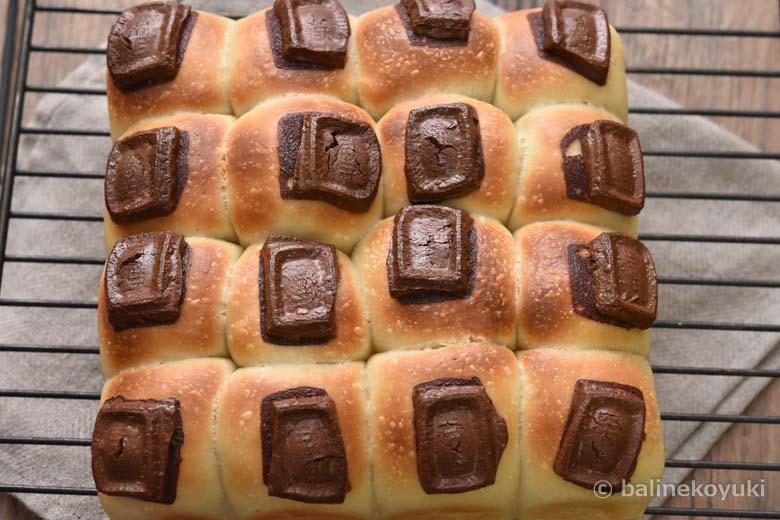 板チョコ乗せちぎりパン