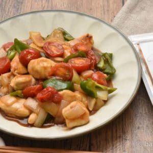 鶏むね肉と彩り野菜のオイスター酢鶏