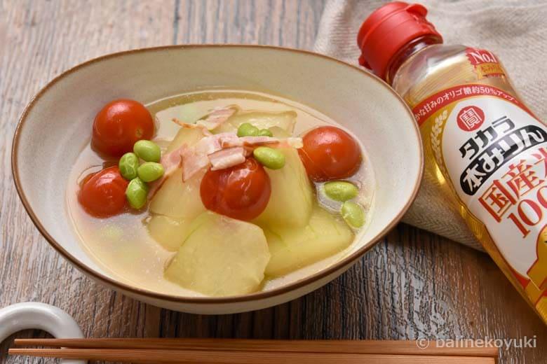 冬瓜とベーコンとトマトの煮物