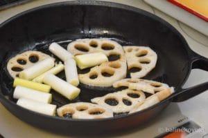 根菜を焼く