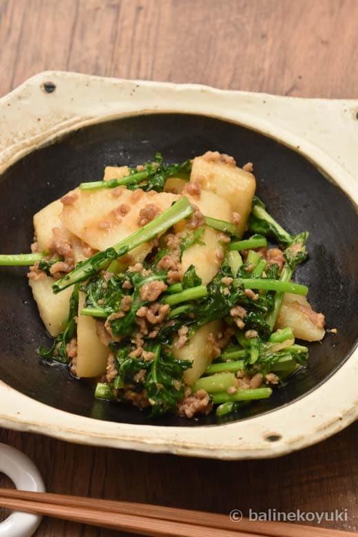 長芋とな花の味噌炒め煮