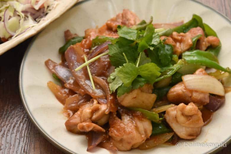 鶏もも肉の甘辛味噌炒め