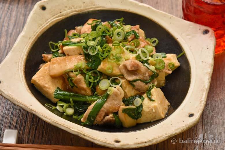 かさ増し豆腐・豚肉ときのこの中華炒め