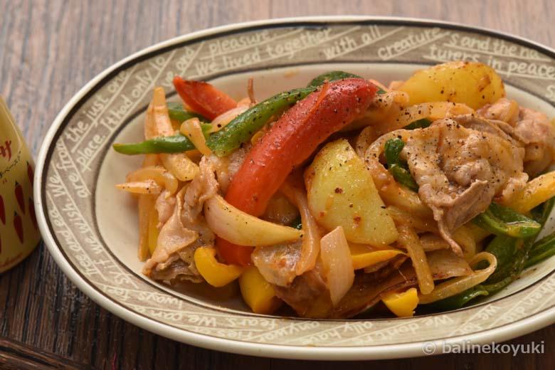 豚肉と彩り野菜のハリッサマヨ炒め