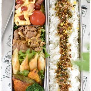 中学生男子弁当|豚肉とキャベツのソース炒め|ポークビッツの卵炒め|スリムランチボックス2段