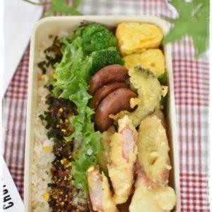 中学生男子弁当|3種の天ぷら|ハムステーキ|卵焼き